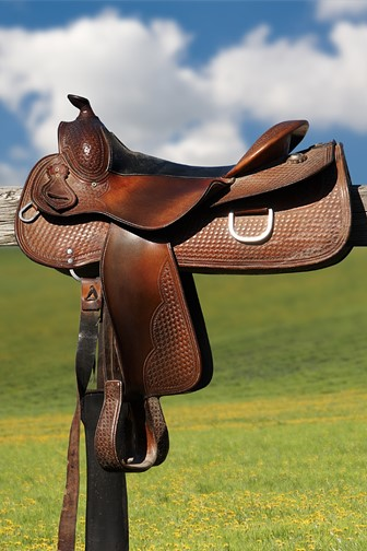 horse saddle on a rural fence